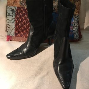 Booties, Black Leather and Suede fits like 7 1/2-8